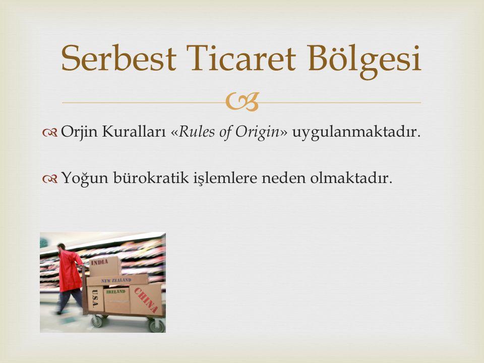   Orjin Kuralları « Rules of Origin » uygulanmaktadır.