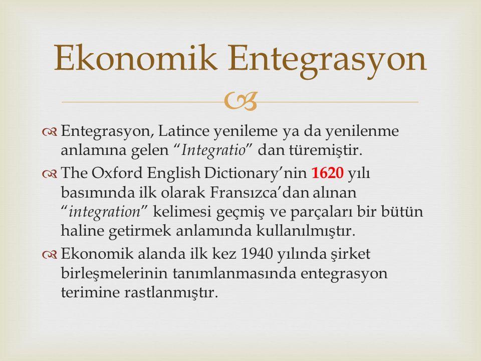   Entegrasyon, Latince yenileme ya da yenilenme anlamına gelen Integratio dan türemiştir.