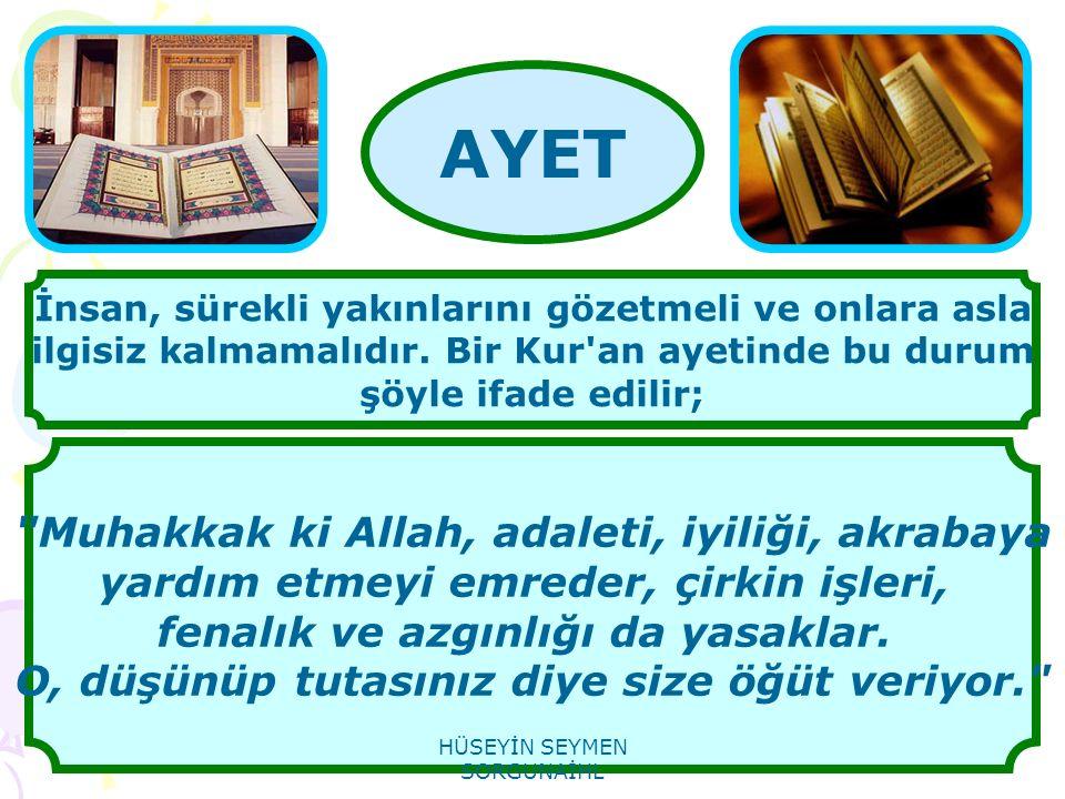 Muhakkak ki Allah, adaleti, iyiliği, akrabaya yardım etmeyi emreder, çirkin işleri, fenalık ve azgınlığı da yasaklar.
