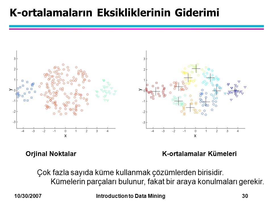10/30/2007 Introduction to Data Mining 30 K-ortalamaların Eksikliklerinin Giderimi Orjinal NoktalarK-ortalamalar Kümeleri Çok fazla sayıda küme kullan