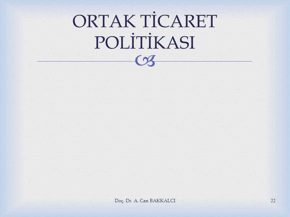  Doç. Dr. A. Can BAKKALCI22 ORTAK TİCARET POLİTİKASI