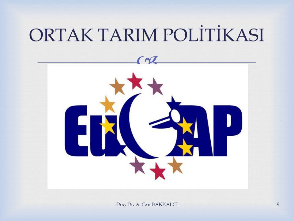 Doç. Dr. A. Can BAKKALCI9 ORTAK TARIM POLİTİKASI