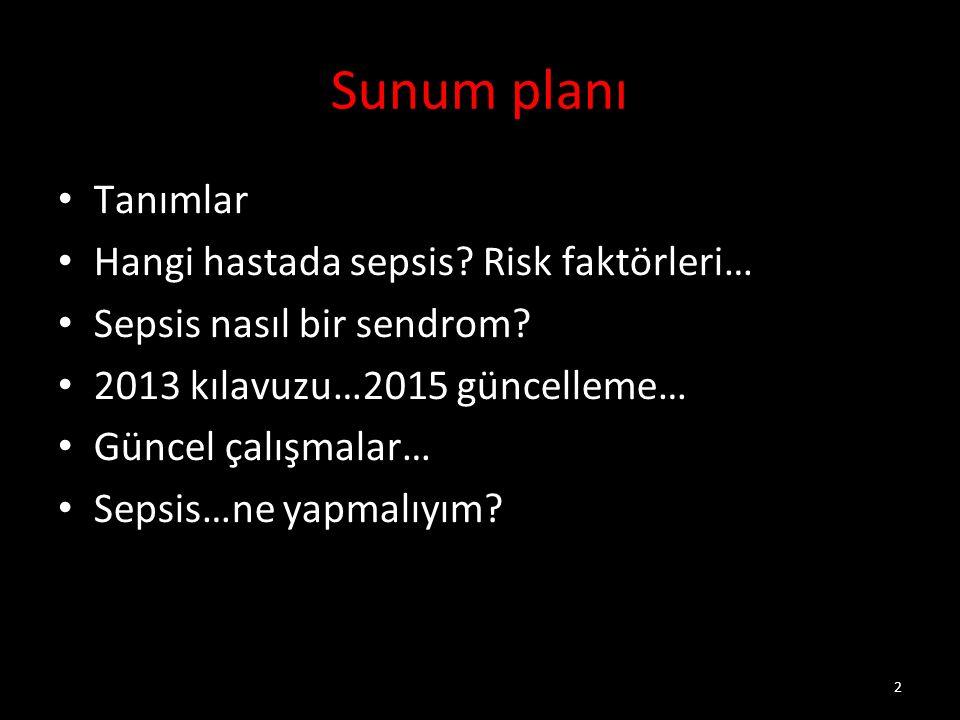 2 Sunum planı Tanımlar Hangi hastada sepsis.Risk faktörleri… Sepsis nasıl bir sendrom.