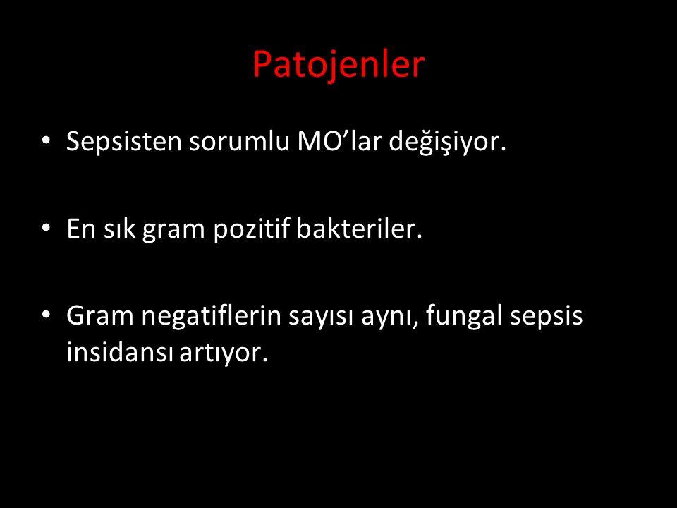 Patojenler Sepsisten sorumlu MO'lar değişiyor.En sık gram pozitif bakteriler.