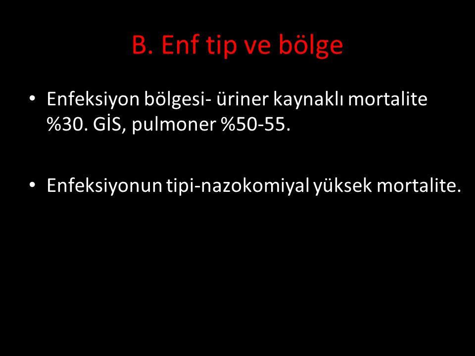 B. Enf tip ve bölge Enfeksiyon bölgesi- üriner kaynaklı mortalite %30. GİS, pulmoner %50-55. Enfeksiyonun tipi-nazokomiyal yüksek mortalite. 10. Ulusa