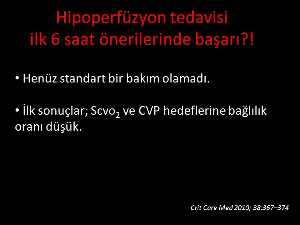 Henüz standart bir bakım olamadı. İlk sonuçlar; Scvo 2 ve CVP hedeflerine bağlılık oranı düşük. Hipoperfüzyon tedavisi ilk 6 saat önerilerinde başarı?