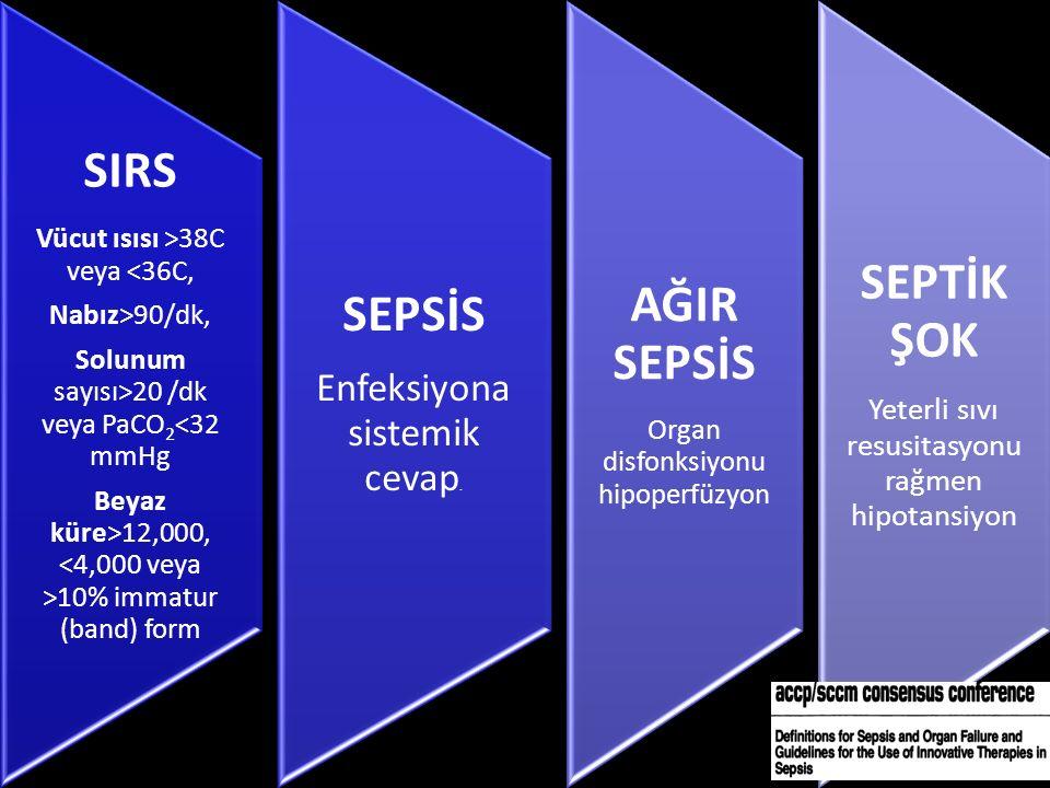 SIRS Vücut ısısı >38C veya <36C, Nabız>90/dk, Solunum sayısı>20 /dk veya PaCO2<32 mmHg Beyaz küre>12,000, 10% immatur (band) form SEPSİS Enfeksiyona sistemik cevap.