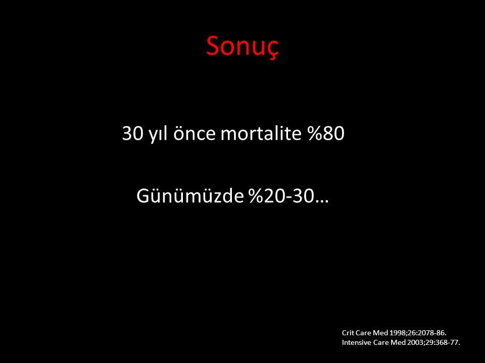 Sonuç 30 yıl önce mortalite %80 Günümüzde %20-30… 10. Ulusal Acil Tıp Kongresi, 15-18 Mayıs 2014. Crit Care Med 1998;26:2078-86. Intensive Care Med 20