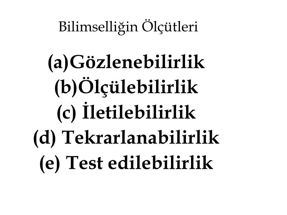 Bilimselliğin Ölçütleri (a)Gözlenebilirlik (b)Ölçülebilirlik (c) İletilebilirlik (d) Tekrarlanabilirlik (e) Test edilebilirlik