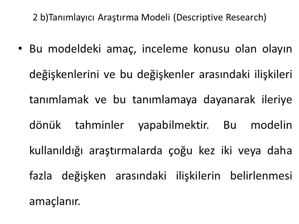 2 b)Tanımlayıcı Araştırma Modeli (Descriptive Research) Bu modeldeki amaç, inceleme konusu olan olayın değişkenlerini ve bu değişkenler arasındaki ili