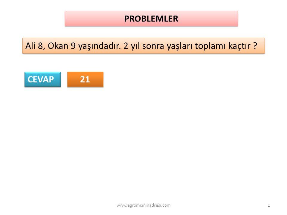 PROBLEMLER Ali 8, Okan 9 yaşındadır. 2 yıl sonra yaşları toplamı kaçtır ? CEVAP 21 1www.egitimcininadresi.com