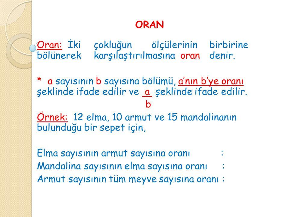 ORAN Oran: İkiçokluğunölçülerininbirbirine bölünerekkarşılaştırılmasınaorandenir.