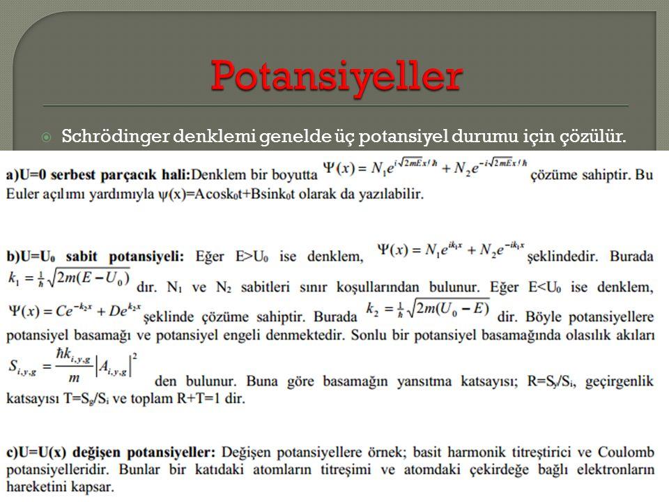  Schrödinger denklemi genelde üç potansiyel durumu için çözülür.