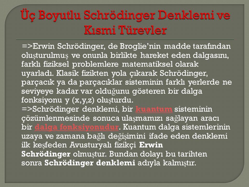 =>Erwin Schrödinger, de Broglie'nin madde tarafından olu ş turulmu ş ve onunla birlikte hareket eden dalgasını, farklı fiziksel problemlere matematiksel olarak uyarladı.