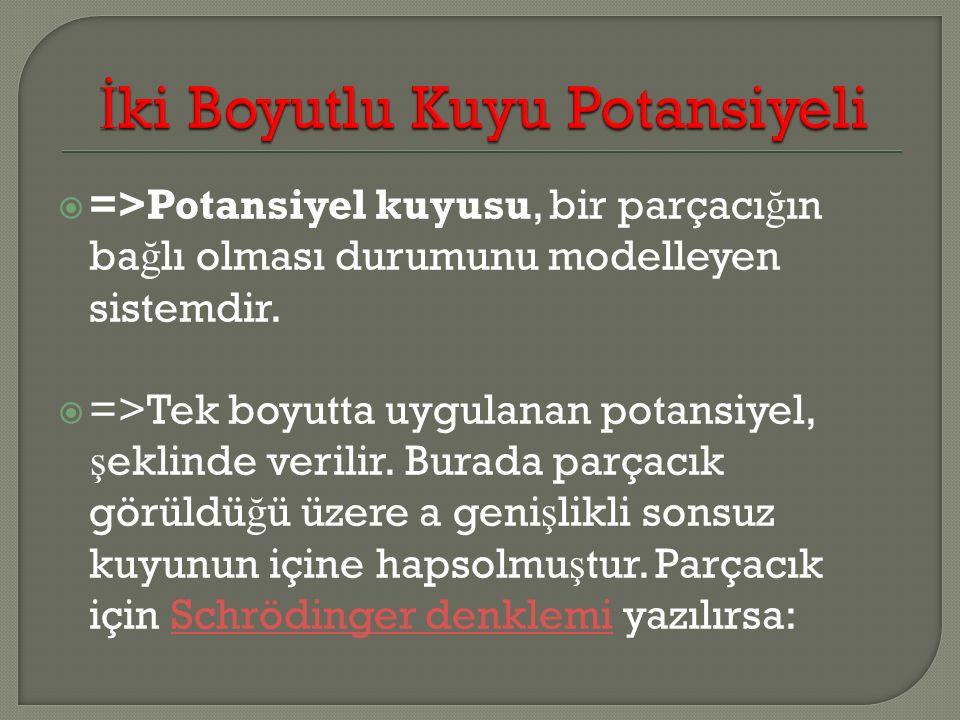  =>Potansiyel kuyusu, bir parçacı ğ ın ba ğ lı olması durumunu modelleyen sistemdir.