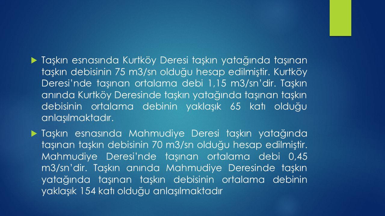  Taşkın esnasında Kurtköy Deresi taşkın yatağında taşınan taşkın debisinin 75 m3/sn olduğu hesap edilmiştir. Kurtköy Deresi'nde taşınan ortalama debi