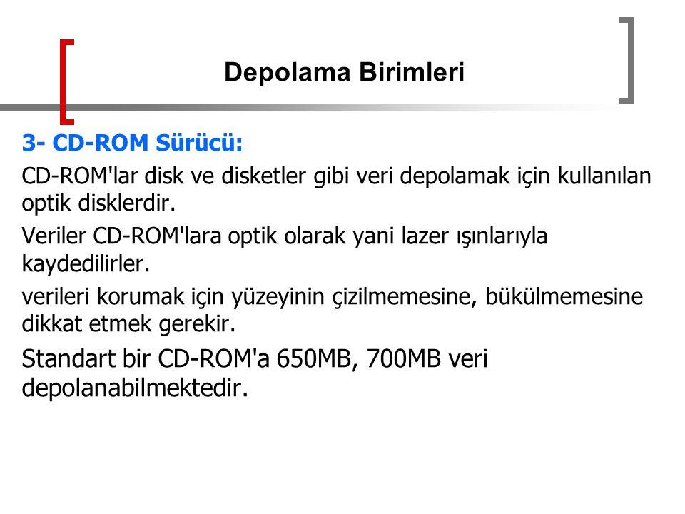 3- CD-ROM Sürücü: CD-ROM'lar disk ve disketler gibi veri depolamak için kullanılan optik disklerdir. Veriler CD-ROM'lara optik olarak yani lazer ışınl