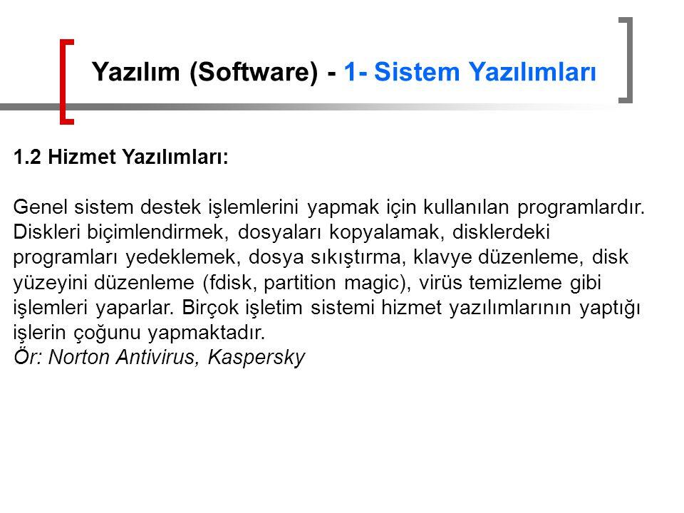 1.2 Hizmet Yazılımları: Genel sistem destek işlemlerini yapmak için kullanılan programlardır. Diskleri biçimlendirmek, dosyaları kopyalamak, disklerde