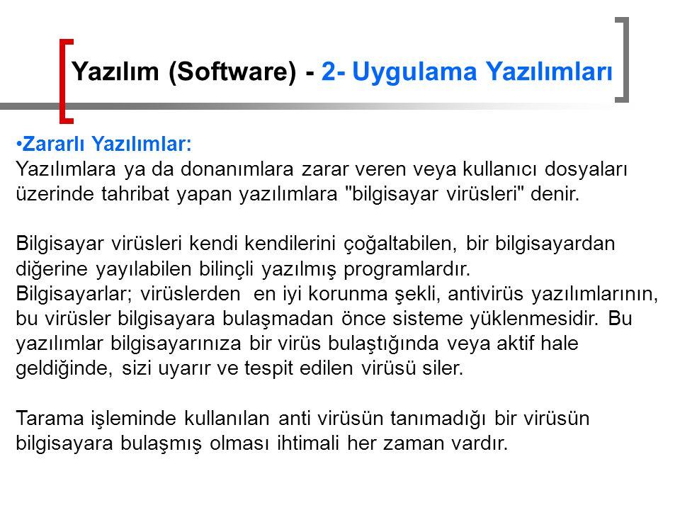 Zararlı Yazılımlar: Yazılımlara ya da donanımlara zarar veren veya kullanıcı dosyaları üzerinde tahribat yapan yazılımlara