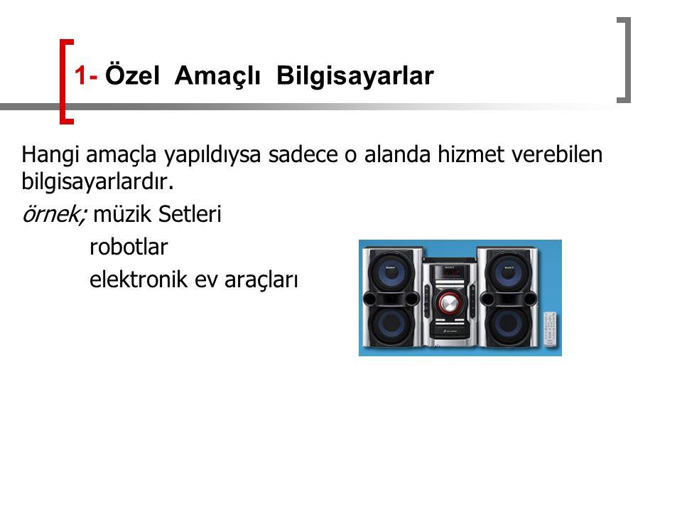 Hangi amaçla yapıldıysa sadece o alanda hizmet verebilen bilgisayarlardır. örnek; müzik Setleri robotlar elektronik ev araçları 1- Özel Amaçlı Bilgisa