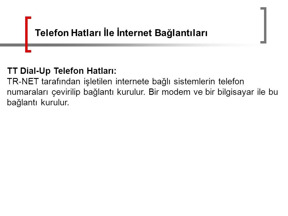 TT Dial-Up Telefon Hatları: TR-NET tarafından işletilen internete bağlı sistemlerin telefon numaraları çevirilip bağlantı kurulur. Bir modem ve bir bi