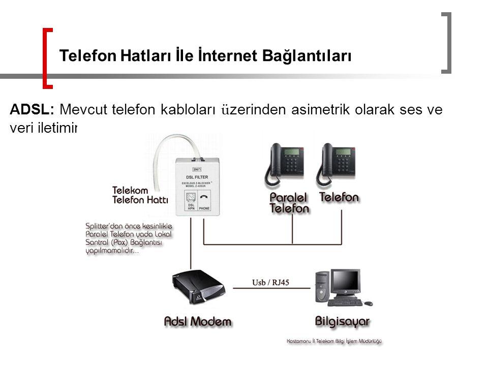 ADSL: Mevcut telefon kabloları ü zerinden asimetrik olarak ses ve veri iletimine olanak tanımaktadır. Telefon Hatları İle İnternet Bağlantıları