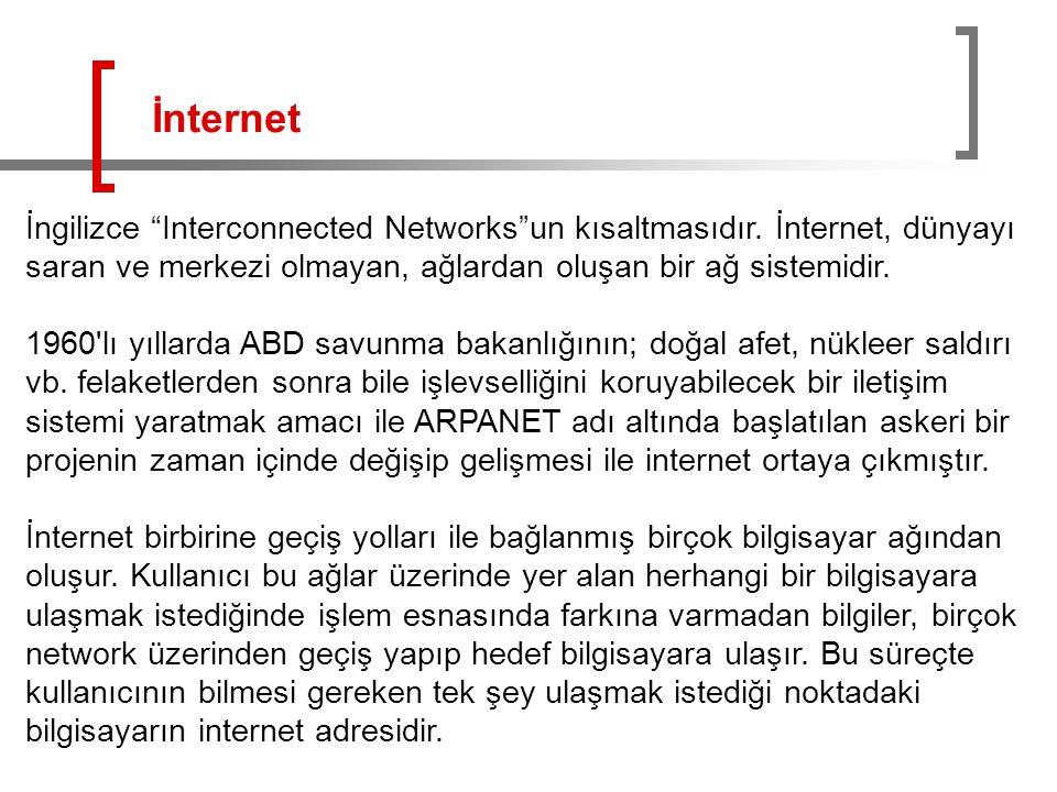 """İngilizce """"Interconnected Networks""""un kısaltmasıdır. İnternet, dünyayı saran ve merkezi olmayan, ağlardan oluşan bir ağ sistemidir. 1960'lı yıllarda A"""