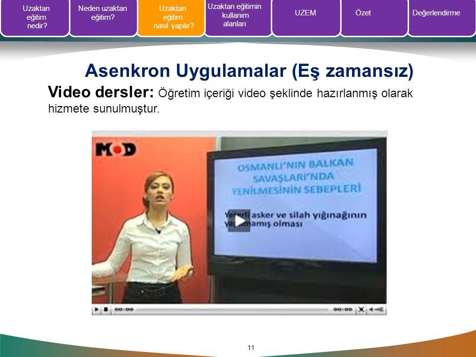 Asenkron Uygulamalar (Eş zamansız) 11 Video dersler: Öğretim içeriği video şeklinde hazırlanmış olarak hizmete sunulmuştur. Uzaktan eğitim nedir? Nede