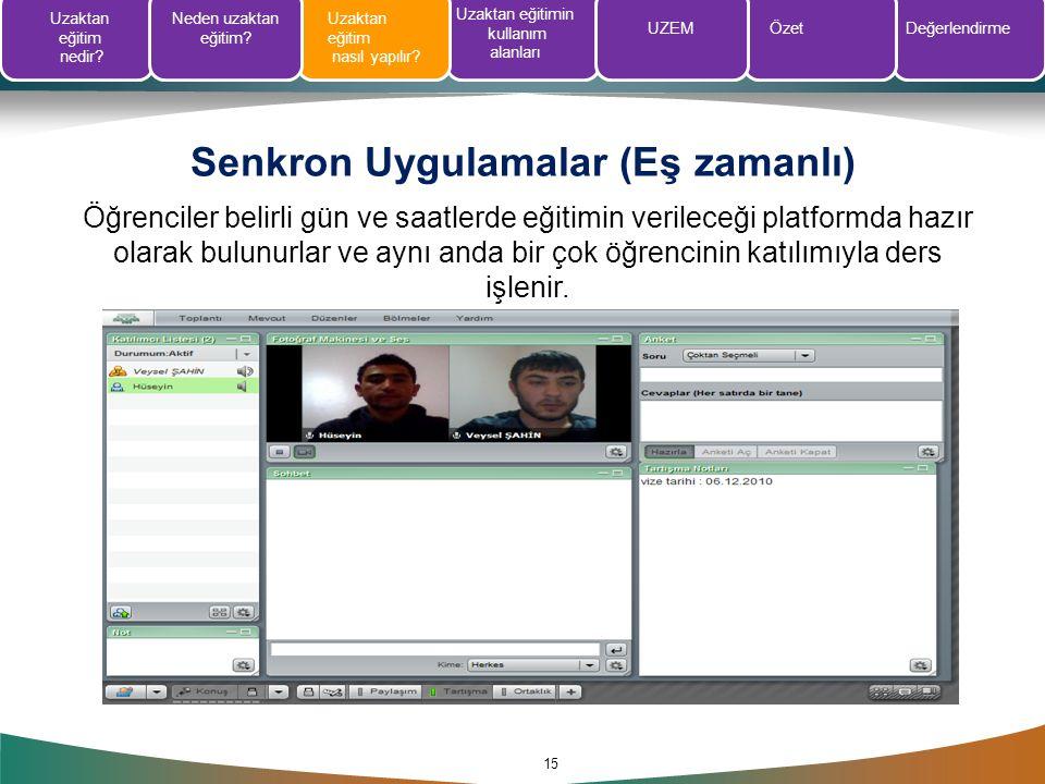 Senkron Uygulamalar (Eş zamanlı) 15 Öğrenciler belirli gün ve saatlerde eğitimin verileceği platformda hazır olarak bulunurlar ve aynı anda bir çok öğ
