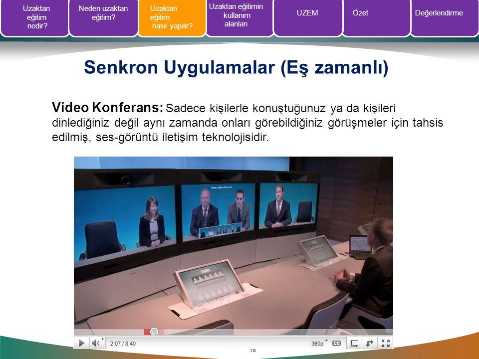 Senkron Uygulamalar (Eş zamanlı) 18 Video Konferans: Sadece kişilerle konuştuğunuz ya da kişileri dinlediğiniz değil aynı zamanda onları görebildiğini