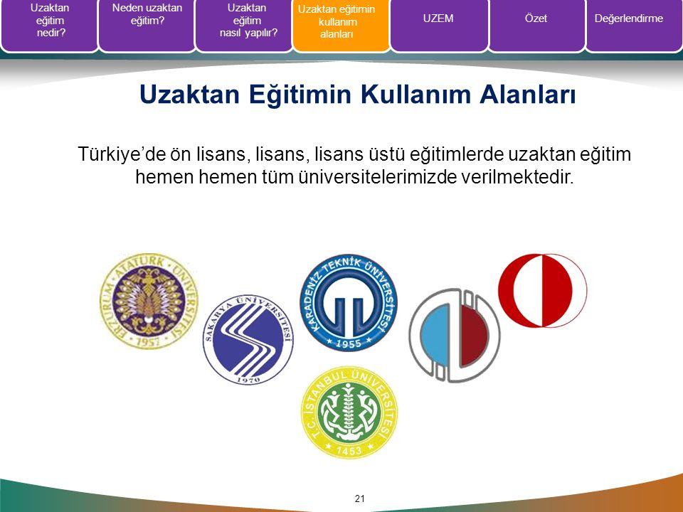 Uzaktan Eğitimin Kullanım Alanları 21 Türkiye'de ön lisans, lisans, lisans üstü eğitimlerde uzaktan eğitim hemen hemen tüm üniversitelerimizde verilme