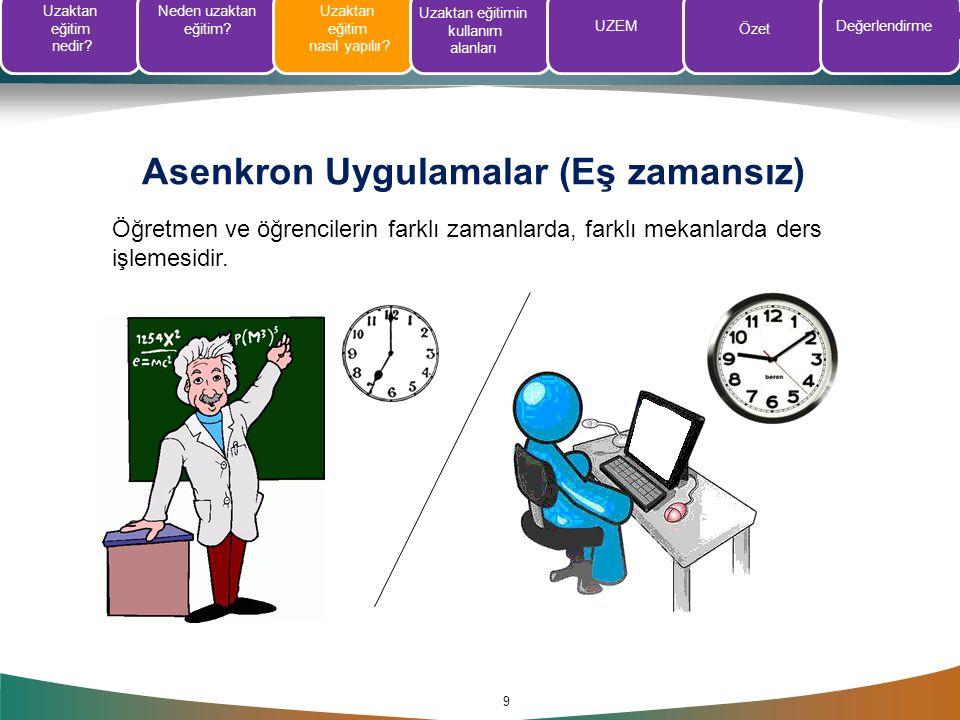 Asenkron Uygulamalar (Eş zamansız) 9 Öğretmen ve öğrencilerin farklı zamanlarda, farklı mekanlarda ders işlemesidir. Uzaktan eğitim nedir? Neden uzakt