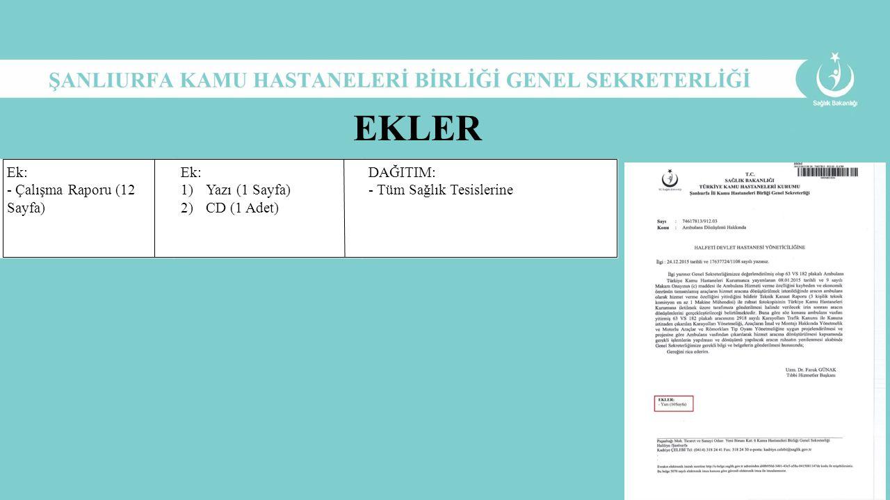 Ek: - Çalışma Raporu (12 Sayfa) Ek: 1)Yazı (1 Sayfa) 2)CD (1 Adet) DAĞITIM: - Tüm Sağlık Tesislerine EKLER
