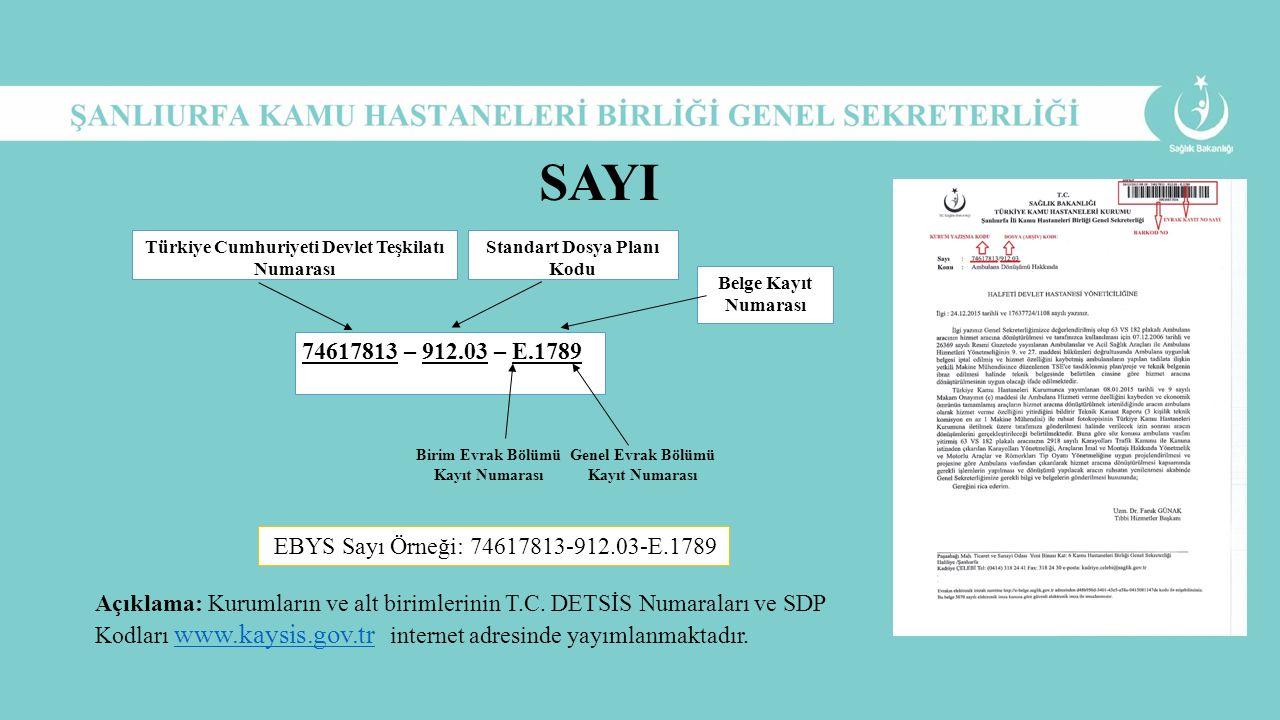 74617813 – 912.03 – E.1789 Türkiye Cumhuriyeti Devlet Teşkilatı Numarası Standart Dosya Planı Kodu Belge Kayıt Numarası Birim Evrak Bölümü Kayıt Numar