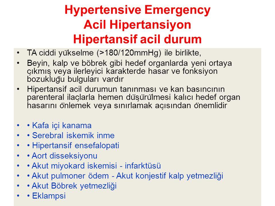 Hypertensive Emergency Acil Hipertansiyon Hipertansif acil durum TA ciddi yu ̈ kselme (>180/120mmHg) ile birlikte, Beyin, kalp ve böbrek gibi hedef organlarda yeni ortaya c ̧ ıkmıs ̧ veya ilerleyici karakterde hasar ve fonksiyon bozuklug ̆ u bulguları vardır Hipertansif acil durumun tanınması ve kan basıncının parenteral ilac ̧ larla hemen du ̈ s ̧ u ̈ ru ̈ lmesi kalıcı hedef organ hasarını o ̈ nlemek veya sınırlamak ac ̧ ısından o ̈ nemlidir Kafa içi kanama Serebral iskemik inme Hipertansif ensefalopati Aort disseksiyonu Akut miyokard iskemisi - infarktüsü Akut pulmoner ödem - Akut konjestif kalp yetmezliği Akut Böbrek yetmezliği Eklampsi