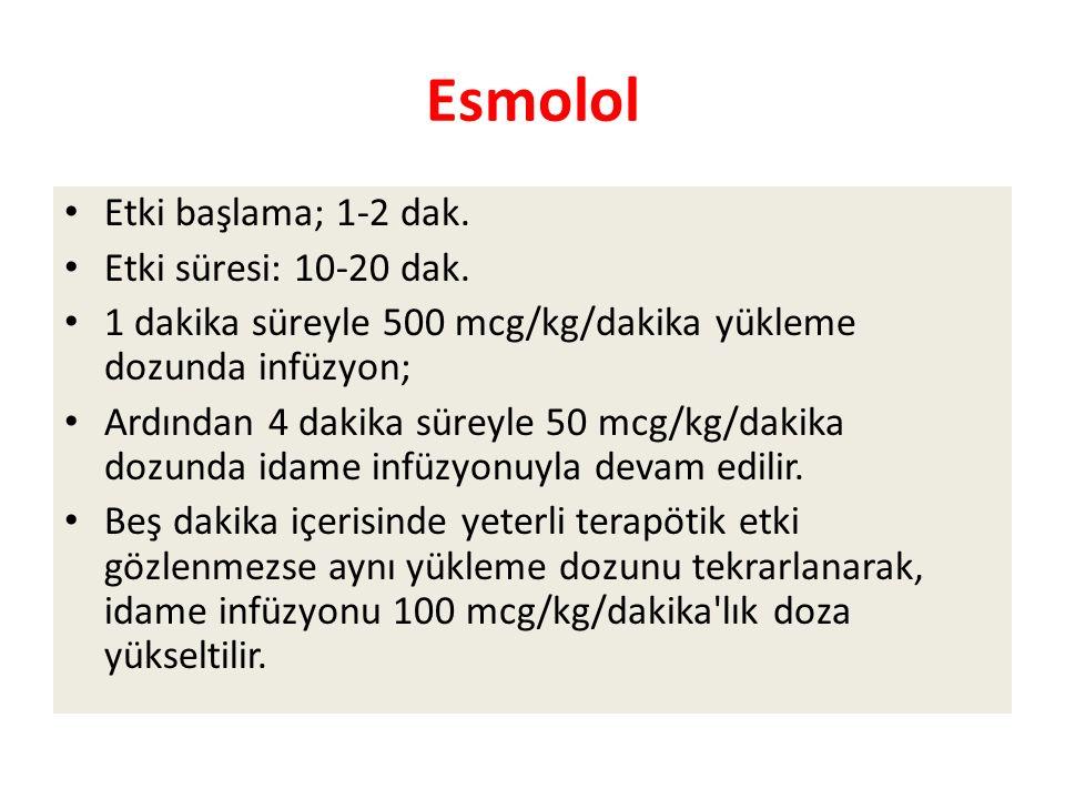 Esmolol Etki başlama; 1-2 dak.Etki süresi: 10-20 dak.
