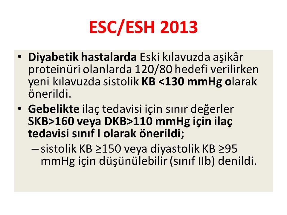 ESC/ESH 2013 Diyabetik hastalarda Eski kılavuzda aşikâr proteinüri olanlarda 120/80 hedefi verilirken yeni kılavuzda sistolik KB <130 mmHg olarak önerildi.