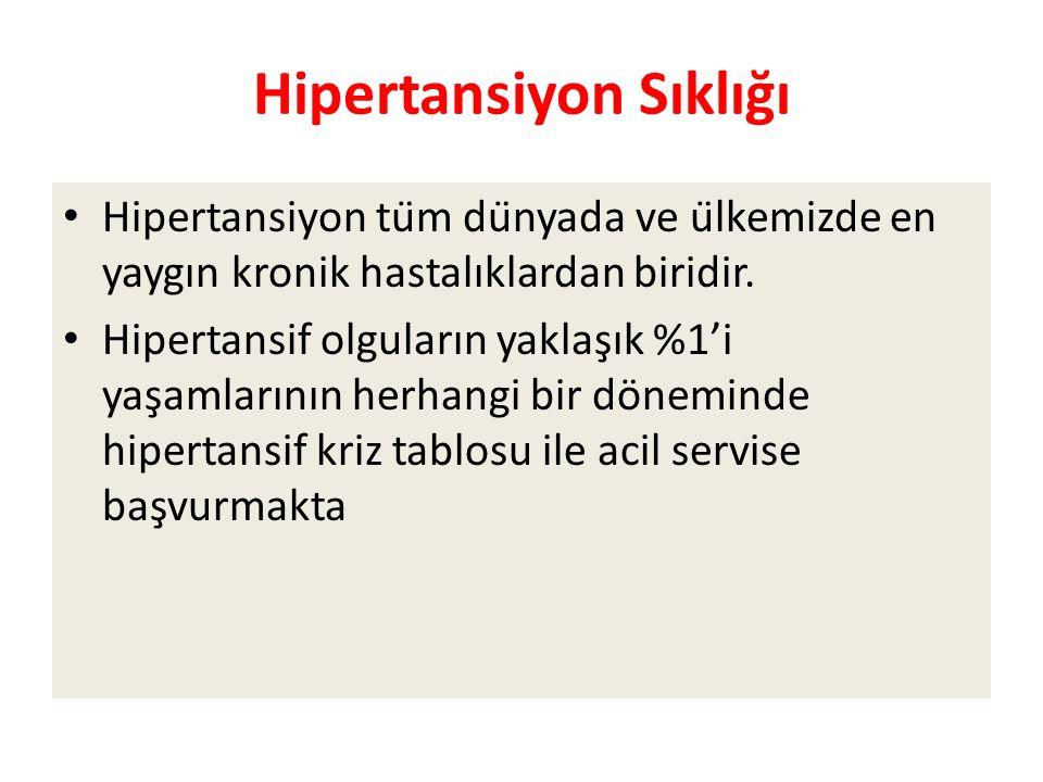 Hipertansiyon Sıklığı Hipertansiyon tüm dünyada ve ülkemizde en yaygın kronik hastalıklardan biridir.