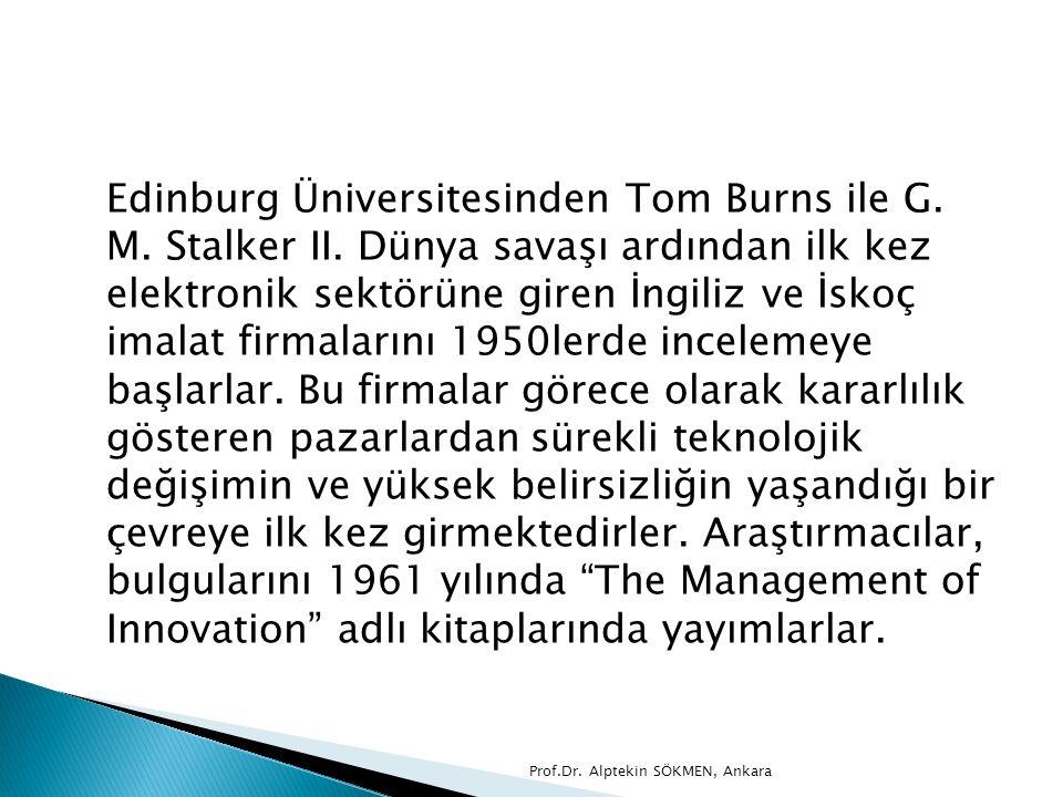 Edinburg Üniversitesinden Tom Burns ile G. M. Stalker II. Dünya savaşı ardından ilk kez elektronik sektörüne giren İngiliz ve İskoç imalat firmalarını