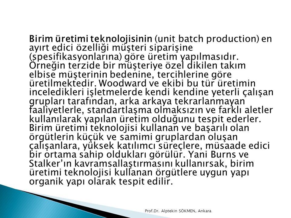 Birim üretimi teknolojisinin (unit batch production) en ayırt edici özelliği müşteri siparişine (spesifikasyonlarına) göre üretim yapılmasıdır. Örneği