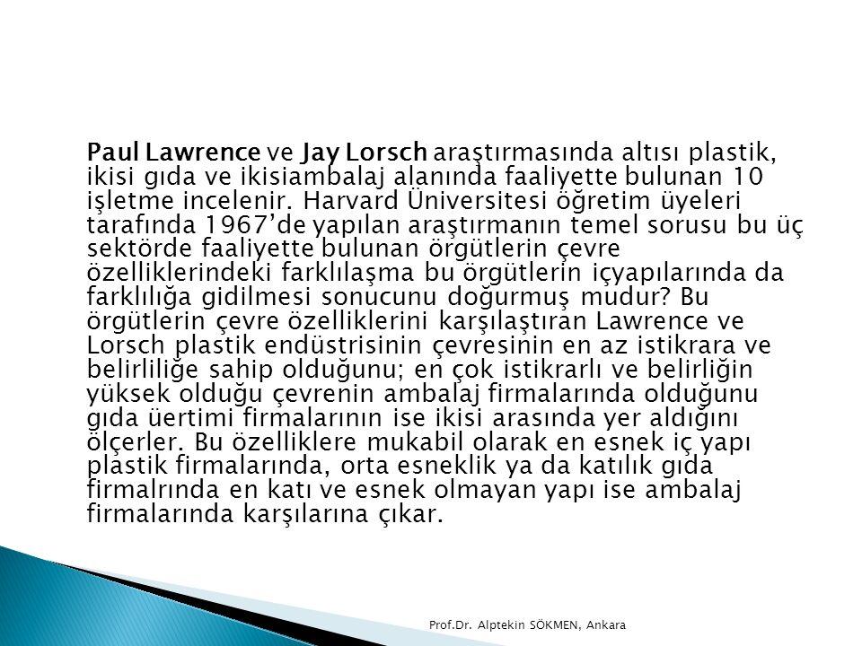 Paul Lawrence ve Jay Lorsch araştırmasında altısı plastik, ikisi gıda ve ikisiambalaj alanında faaliyette bulunan 10 işletme incelenir. Harvard Üniver