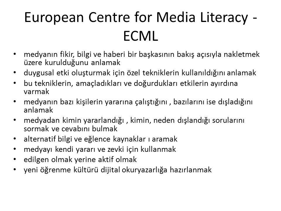 European Centre for Media Literacy - ECML medyanın fikir, bilgi ve haberi bir başkasının bakış açısıyla nakletmek üzere kurulduğunu anlamak duygusal e