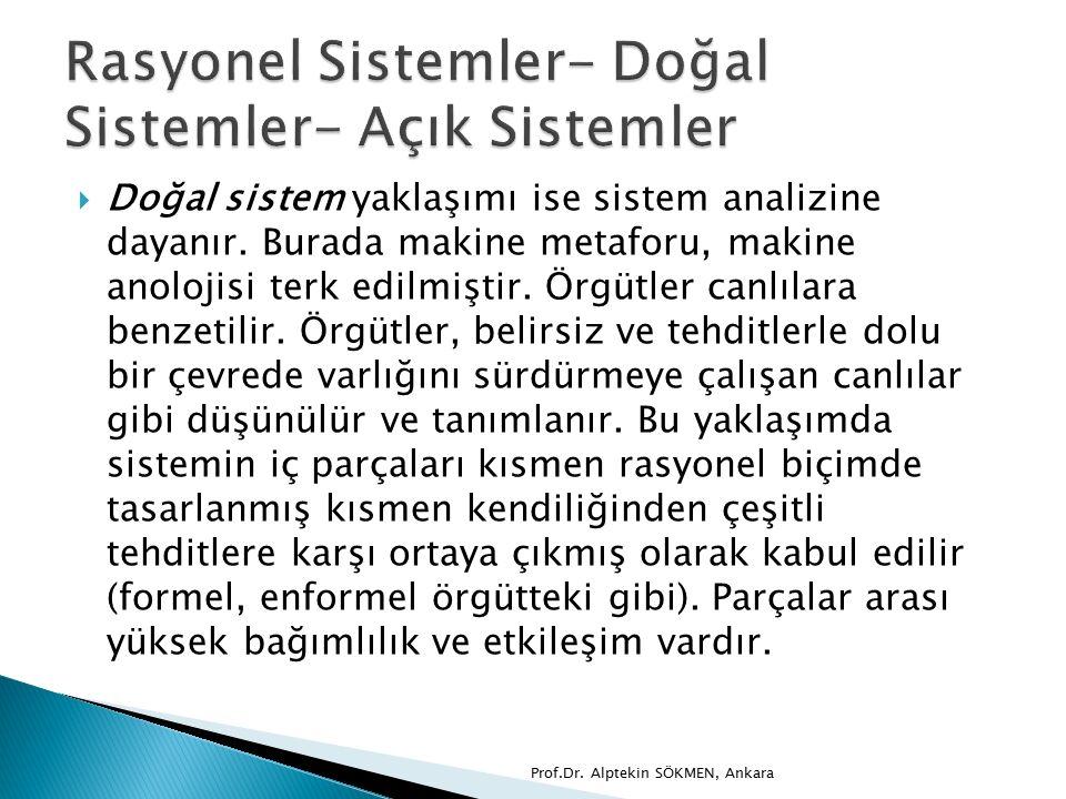  Doğal sistem yaklaşımı ise sistem analizine dayanır.