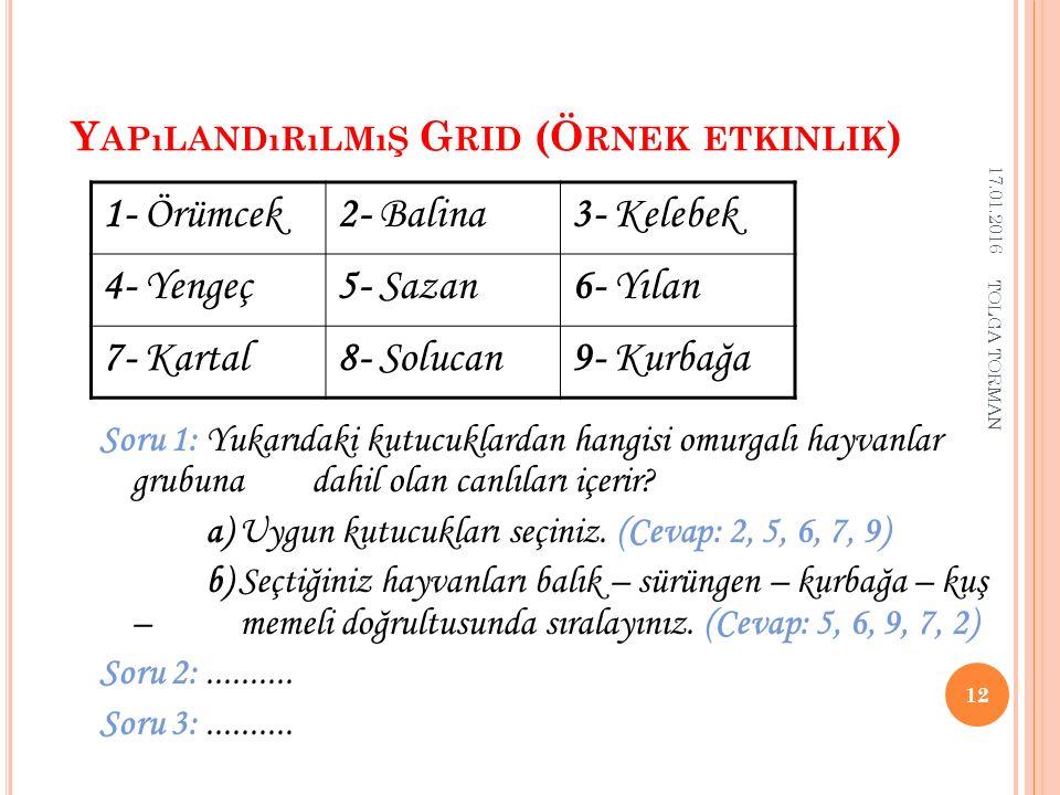 Y APıLANDıRıLMıŞ G RID A NALIZ Y ÖNTEMI ( A )  Her sorunun cevabı için uygun kutucukların seçilmesi  Bu formüle göre öğrencilerin puanları –1, 0 ve +1 arasında değişir.