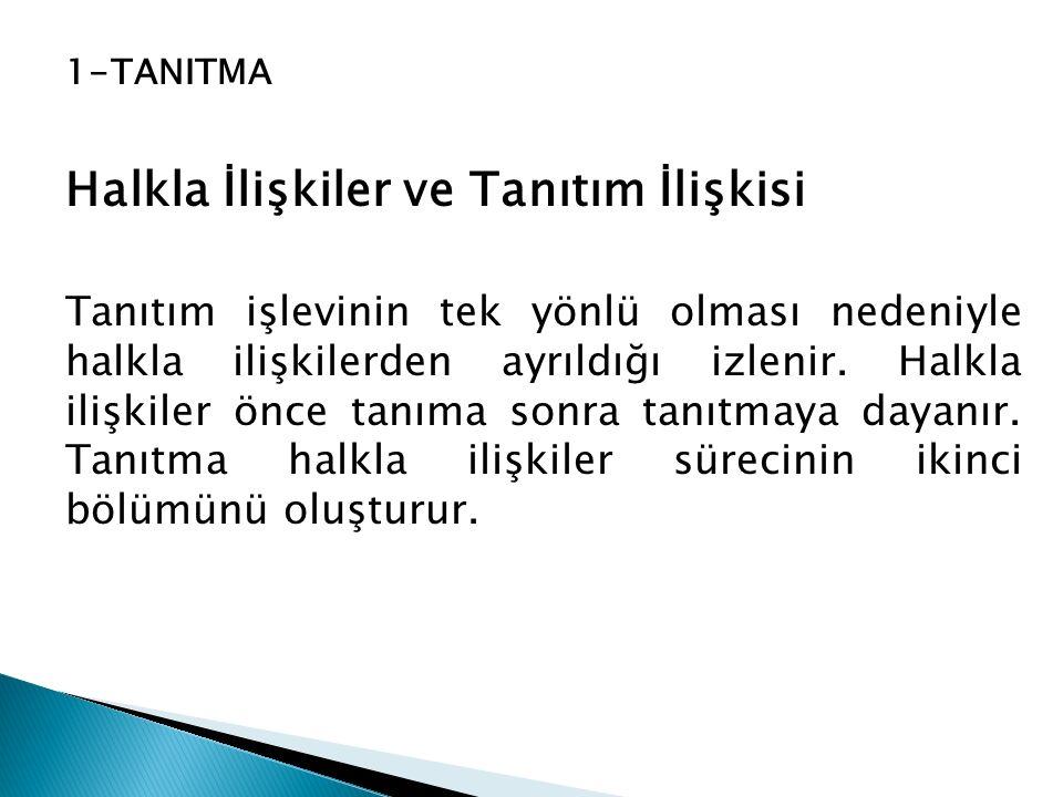 1-TANITMA Halkla İlişkiler ve Tanıtım İlişkisi Tanıtım işlevinin tek yönlü olması nedeniyle halkla ilişkilerden ayrıldığı izlenir. Halkla ilişkiler ön
