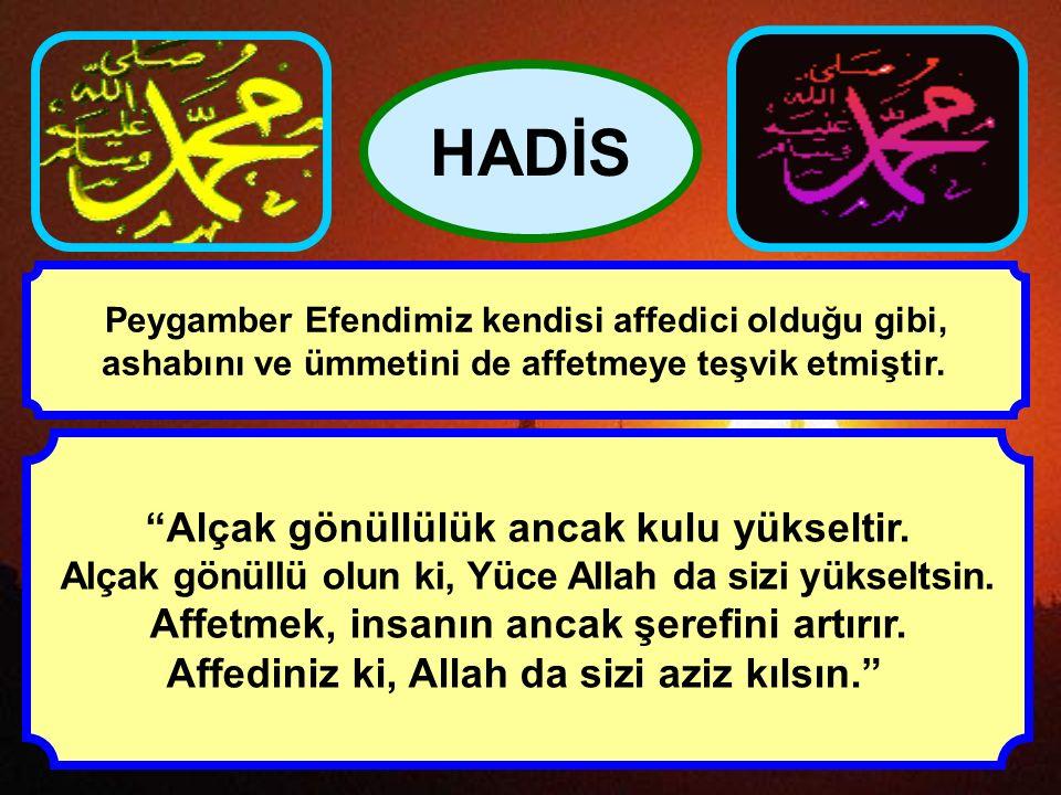 """""""Affedin ki, Allah da sizi affetsin ve şerefinizi yükseltsin!"""" """"Allah rızası için affedeni, Yüce Allah yükseltir."""" HADİS Hz. Peygamber de sık sık insa"""