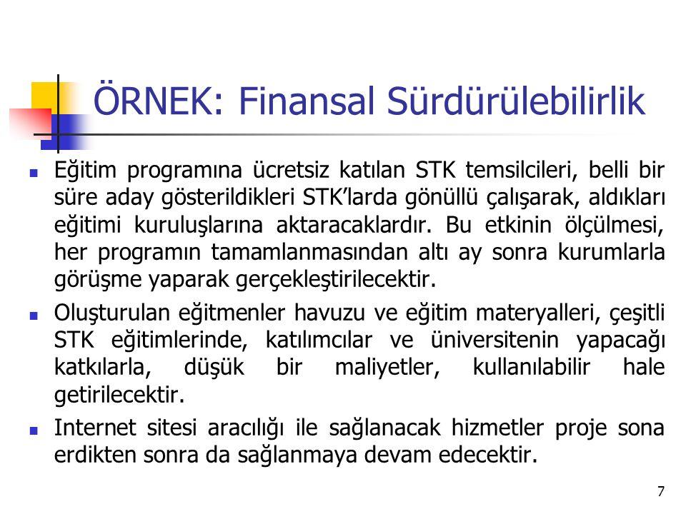 ÖRNEK: Finansal Sürdürülebilirlik Üniversite kütüphanesi bünyesinde oluşturulan STK koleksiyonu, proje bitiminden sonra da STK'lar ve öğrencilerin kullanımına açık kalacaktır.