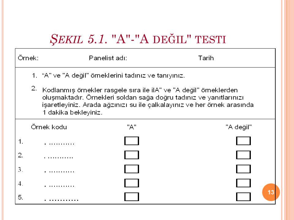 13 Ş EKIL 5.1. A - A DEĞIL TESTI
