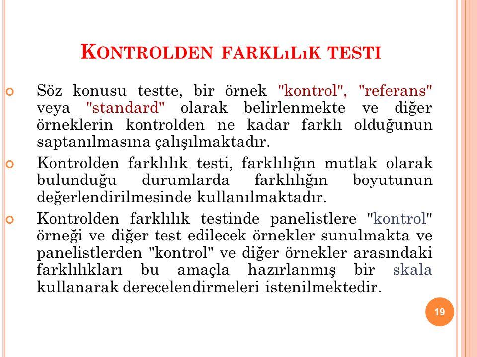 19 K ONTROLDEN FARKLıLıK TESTI Söz konusu testte, bir örnek kontrol , referans veya standard olarak belirlenmekte ve diğer örneklerin kontrolden ne kadar farklı olduğunun saptanılmasına çalışılmaktadır.