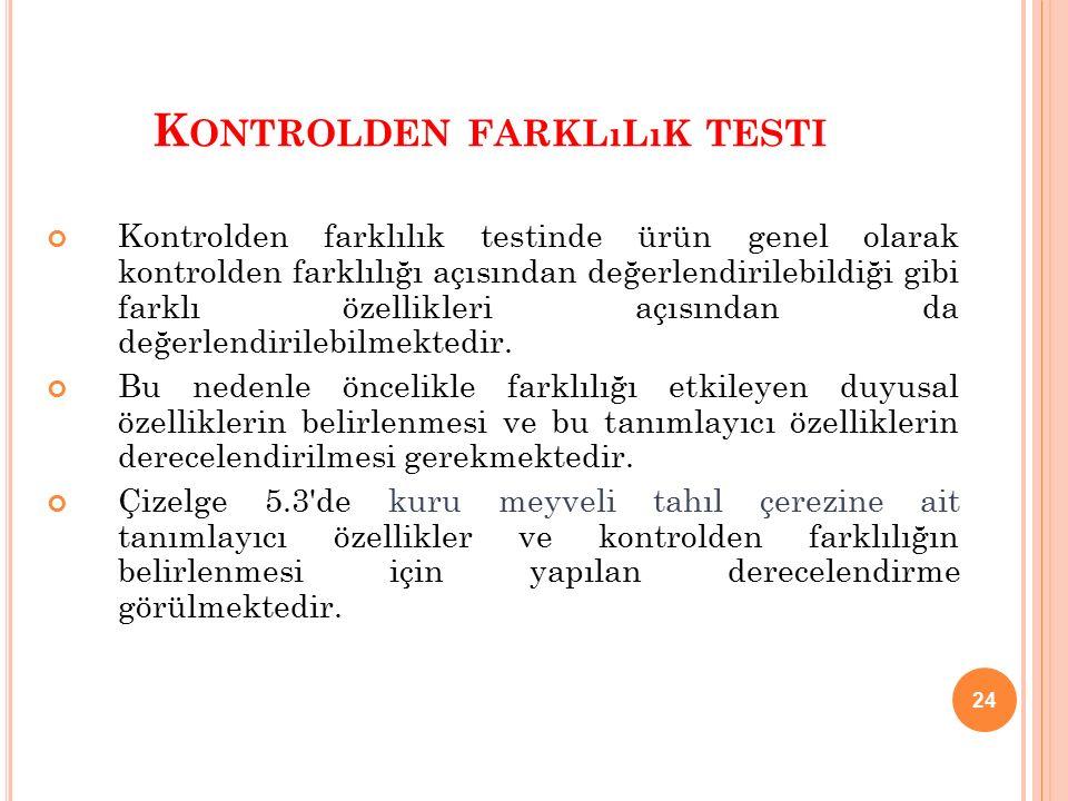 24 K ONTROLDEN FARKLıLıK TESTI Kontrolden farklılık testinde ürün genel olarak kontrolden farklılığı açısından değerlendirilebildiği gibi farklı özellikleri açısından da değerlendirilebilmektedir.